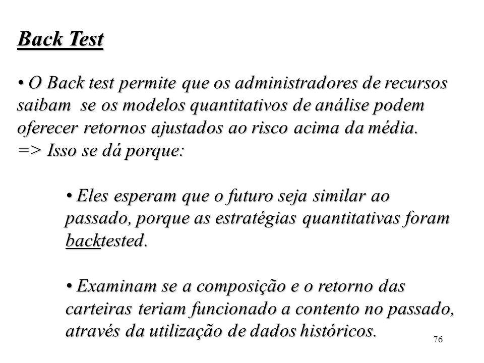 76 Back Test O Back test permite que os administradores de recursos saibam se os modelos quantitativos de análise podem oferecer retornos ajustados ao