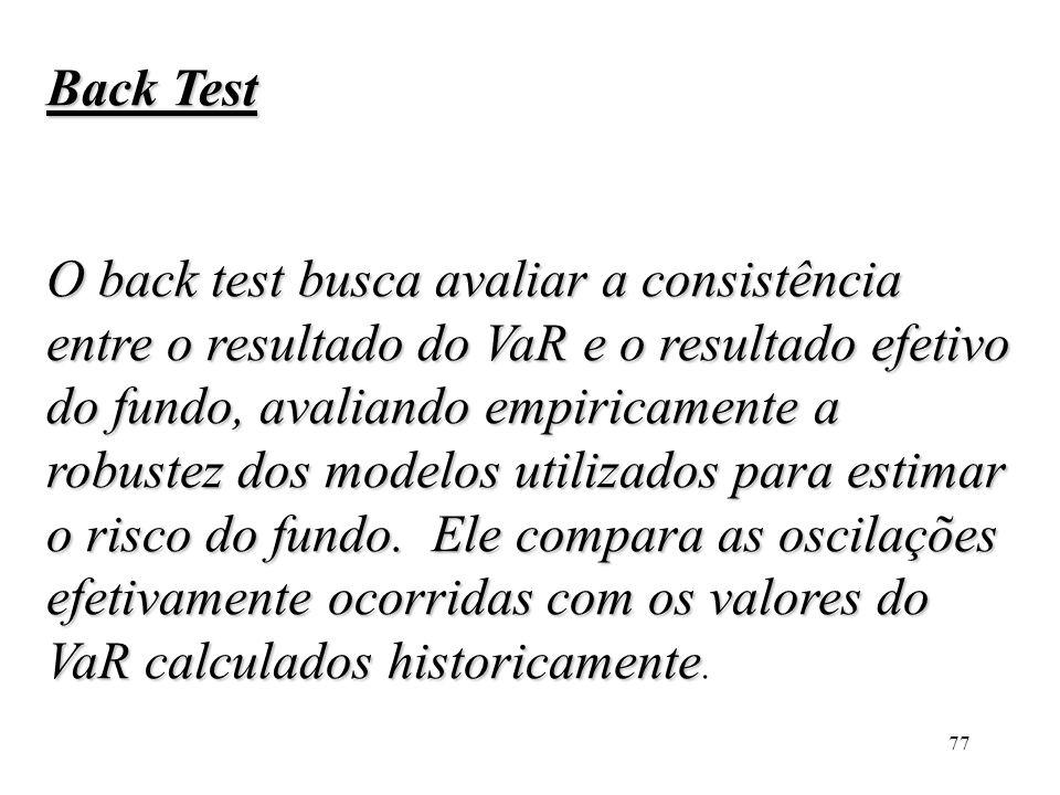 77 Back Test O back test busca avaliar a consistência entre o resultado do VaR e o resultado efetivo do fundo, avaliando empiricamente a robustez dos