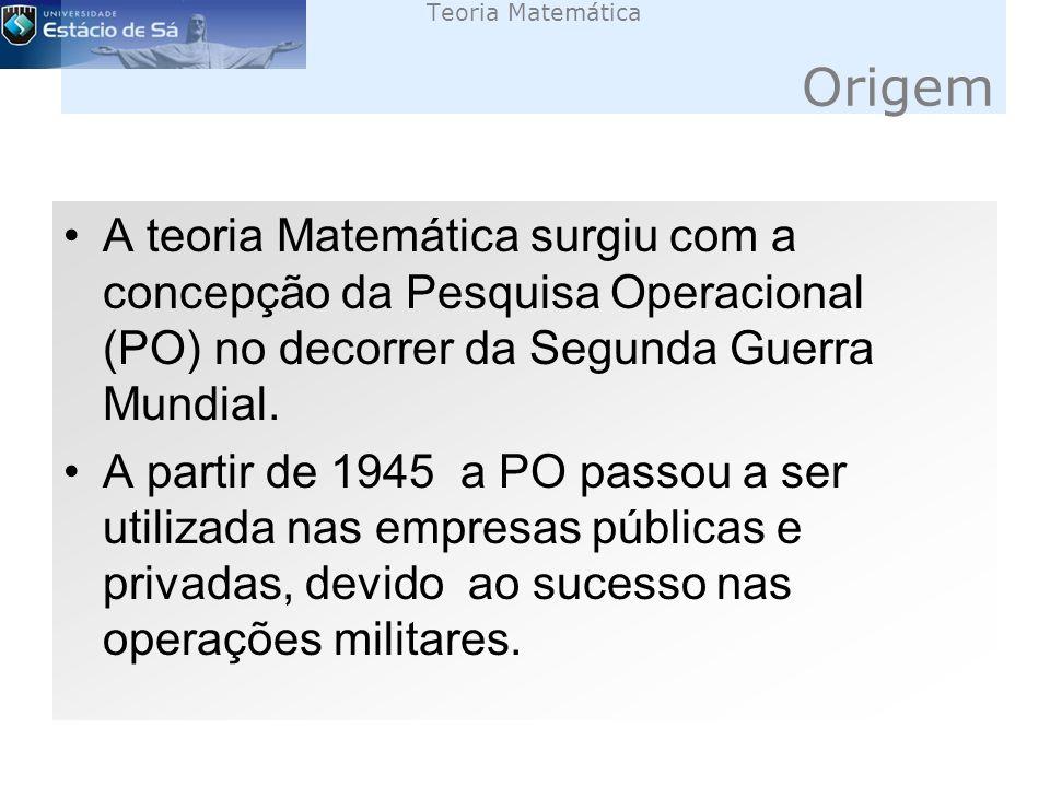 Teoria Matemática Origem A teoria Matemática surgiu com a concepção da Pesquisa Operacional (PO) no decorrer da Segunda Guerra Mundial.