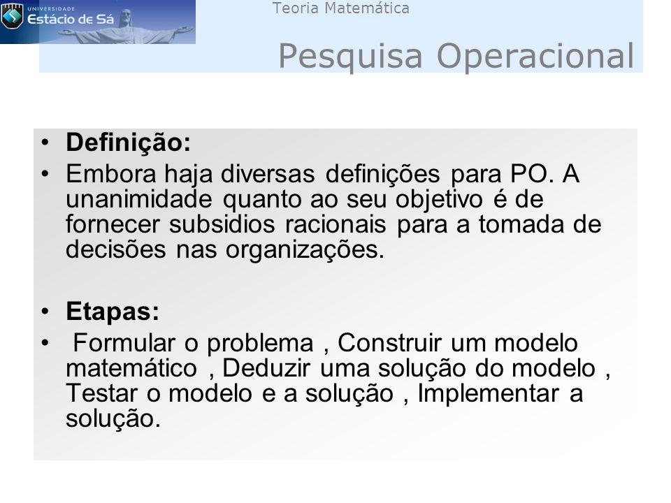 Teoria Matemática Pesquisa Operacional Definição: Embora haja diversas definições para PO.