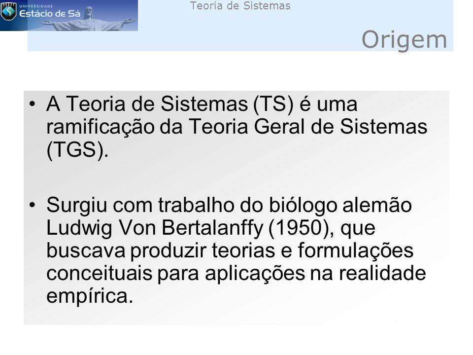 Teoria de Sistemas Origem A Teoria de Sistemas (TS) é uma ramificação da Teoria Geral de Sistemas (TGS).