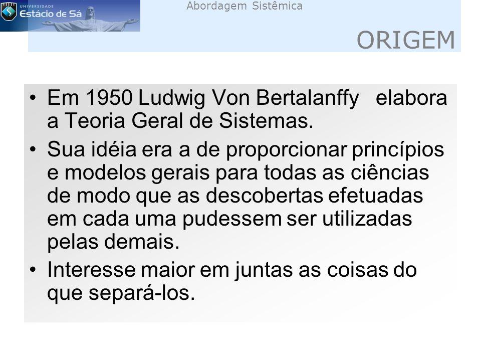 Abordagem Sistêmica ORIGEM Em 1950 Ludwig Von Bertalanffy elabora a Teoria Geral de Sistemas.