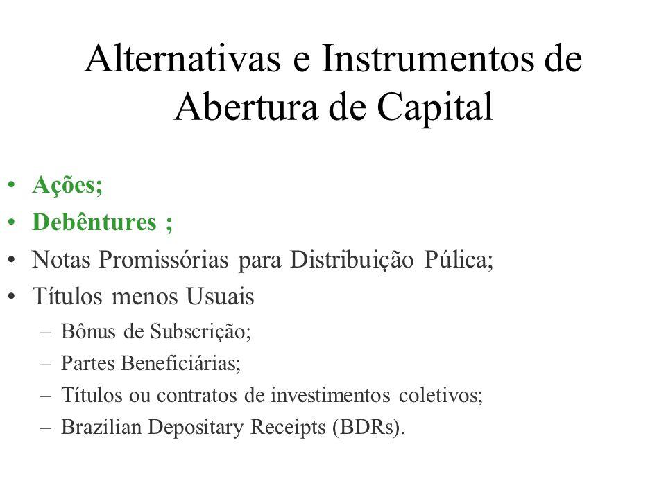 Alternativas e Instrumentos de Abertura de Capital Ações; Debêntures ; Notas Promissórias para Distribuição Púlica; Títulos menos Usuais –Bônus de Sub