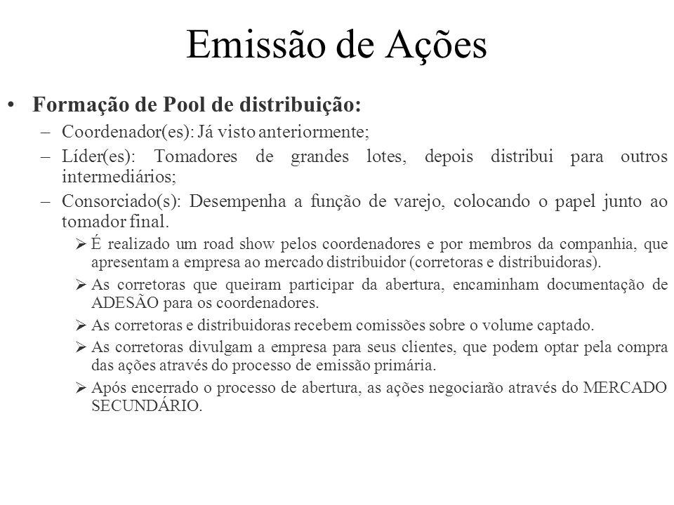 Emissão de Ações Formação de Pool de distribuição: –Coordenador(es): Já visto anteriormente; –Líder(es): Tomadores de grandes lotes, depois distribui
