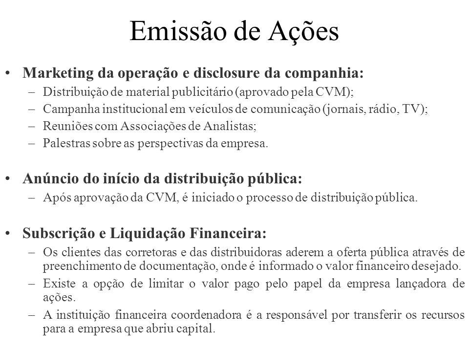 Emissão de Ações Marketing da operação e disclosure da companhia: –Distribuição de material publicitário (aprovado pela CVM); –Campanha institucional