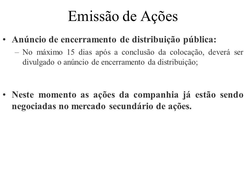 Emissão de Ações Anúncio de encerramento de distribuição pública: –No máximo 15 dias após a conclusão da colocação, deverá ser divulgado o anúncio de