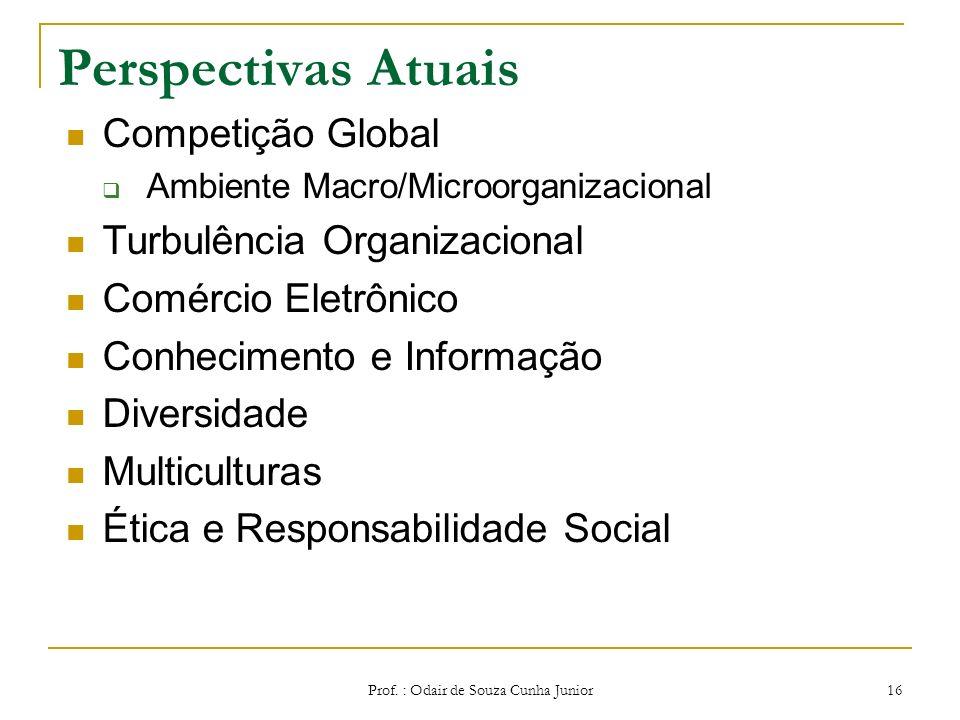 Prof. : Odair de Souza Cunha Junior 15 Empresa Flexível do Séc XXI INTEGRAÇÃO QUALIDADE VISÃO GLOBAL TRABALHO EM EQUIPE CRIATIVIDADE