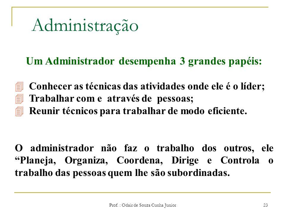Prof. : Odair de Souza Cunha Junior 22 Papel do Administrador Interpretar os objetivos propostos pela organização e transformá-los em ação organizacio