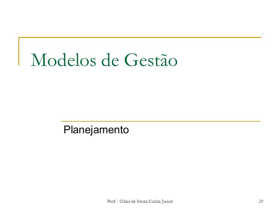 Nível Organizacional x Habilidades Prof. : Odair de Souza Cunha Junior 28 Habilidades Técnicas Habilidades Humanas Habilidades Conceituais Nível Opera