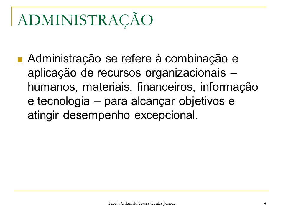 Prof. : Odair de Souza Cunha Junior 3 ADMINISTRAÇÃO Como Ciência: Possui como campo próprio de estudo o trabalho organizado, utilizando os métodos cie