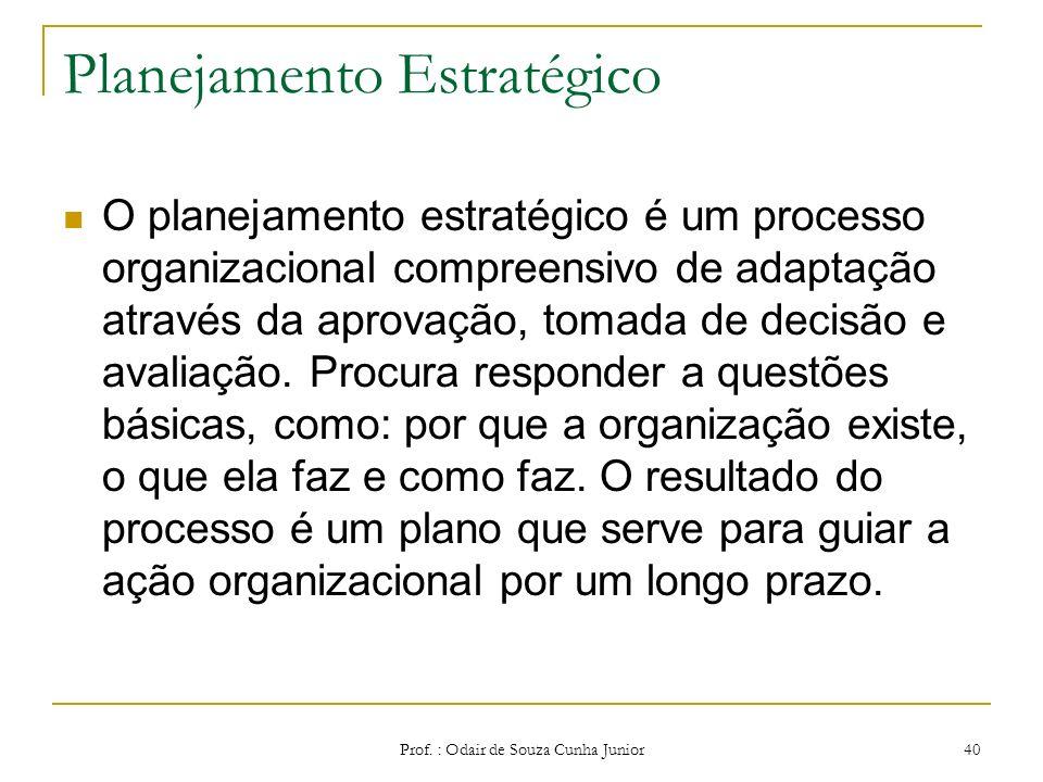 Os tipos de Planejamento Eles podem ser: Planejamento estratégico; Tático; Operacional. Prof. : Odair de Souza Cunha Junior 39