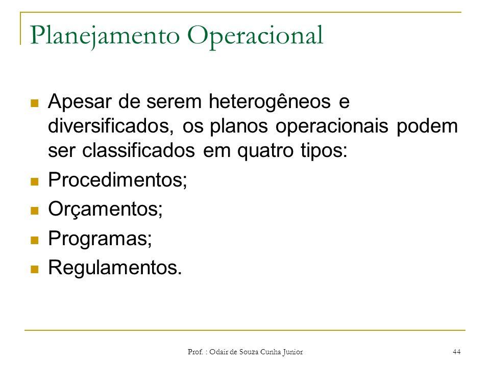 Planejamento Operacional O planejamento operacional é focalizado para o curto prazo e abrange cada uma das tarefas ou operações individualmente, Preoc