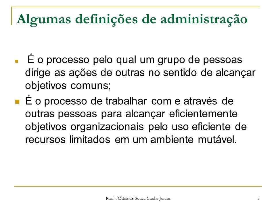Prof. : Odair de Souza Cunha Junior 4 ADMINISTRAÇÃO Administração se refere à combinação e aplicação de recursos organizacionais – humanos, materiais,