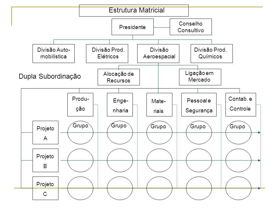 04. ESTRUTURA MATRICIAL Também denominada matriz ou organização em grade; Combina duas formas de departamentalização: funcional com a de produto ou pr