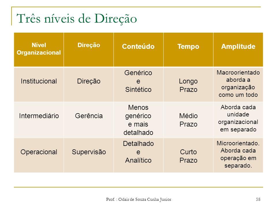 Modelos de Gestão Direção Prof. : Odair de Souza Cunha Junior57