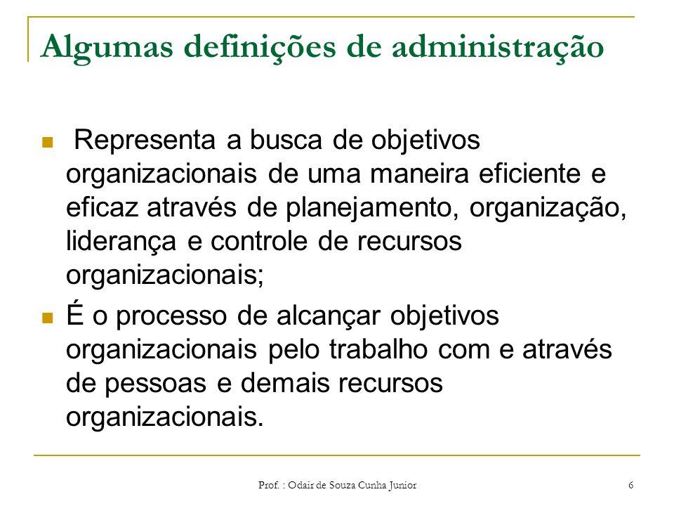 Prof. : Odair de Souza Cunha Junior 5 Algumas definições de administração É o processo pelo qual um grupo de pessoas dirige as ações de outras no sent