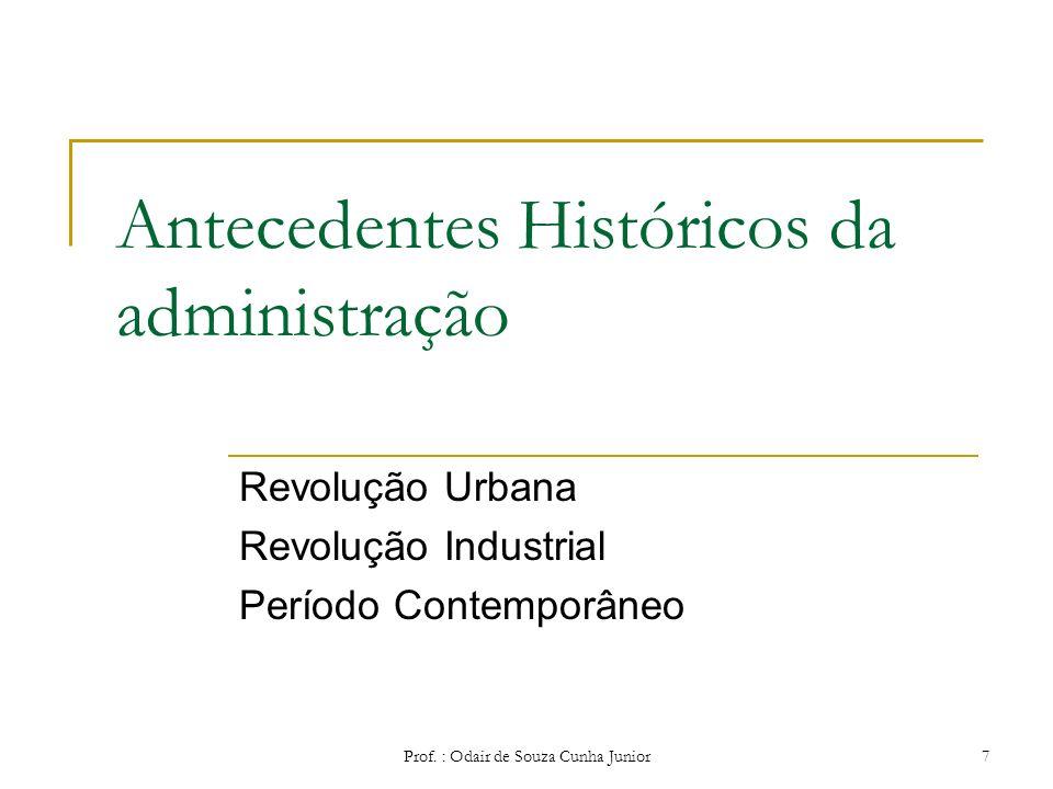 Prof. : Odair de Souza Cunha Junior 6 Algumas definições de administração Representa a busca de objetivos organizacionais de uma maneira eficiente e e