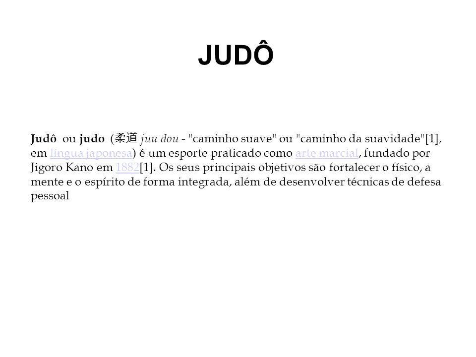 JUDÔ Judô ou judo ( juu dou - caminho suave ou caminho da suavidade [1], em língua japonesa) é um esporte praticado como arte marcial, fundado por Jigoro Kano em 1882[1].