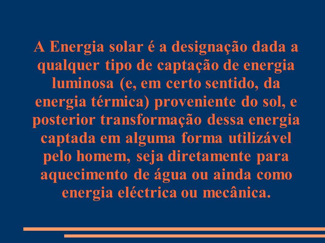 A Energia solar é a designação dada a qualquer tipo de captação de energia luminosa (e, em certo sentido, da energia térmica) proveniente do sol, e po