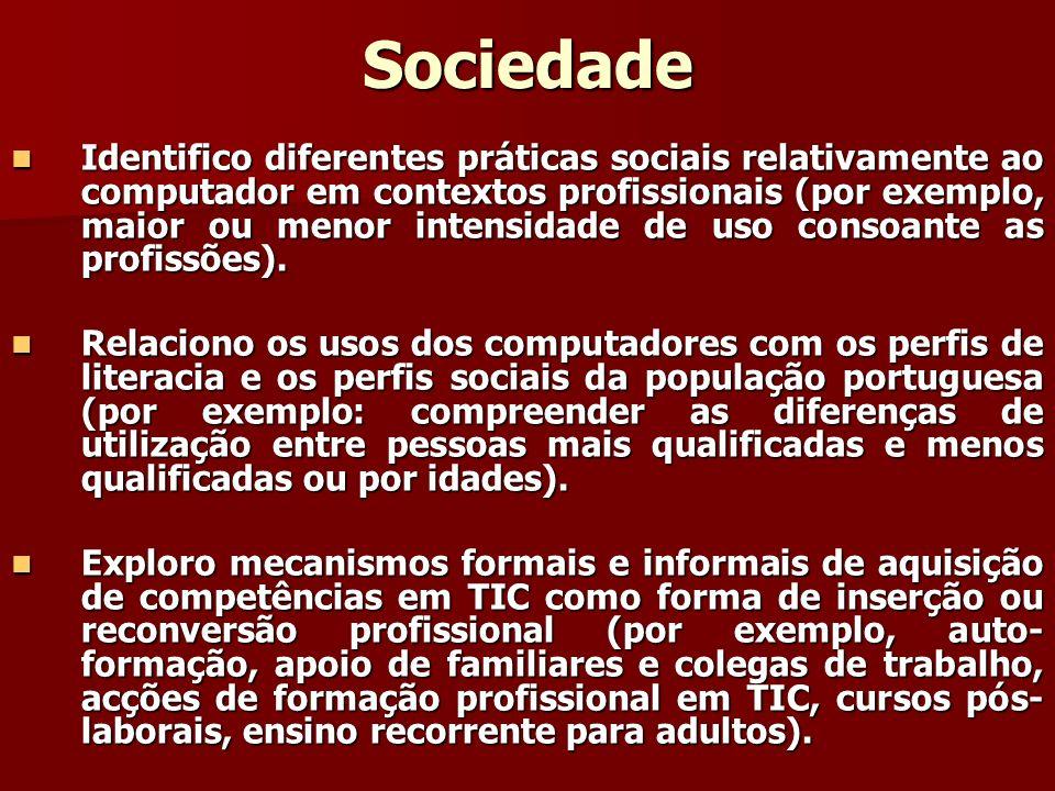 Sociedade Identifico diferentes práticas sociais relativamente ao computador em contextos profissionais (por exemplo, maior ou menor intensidade de us