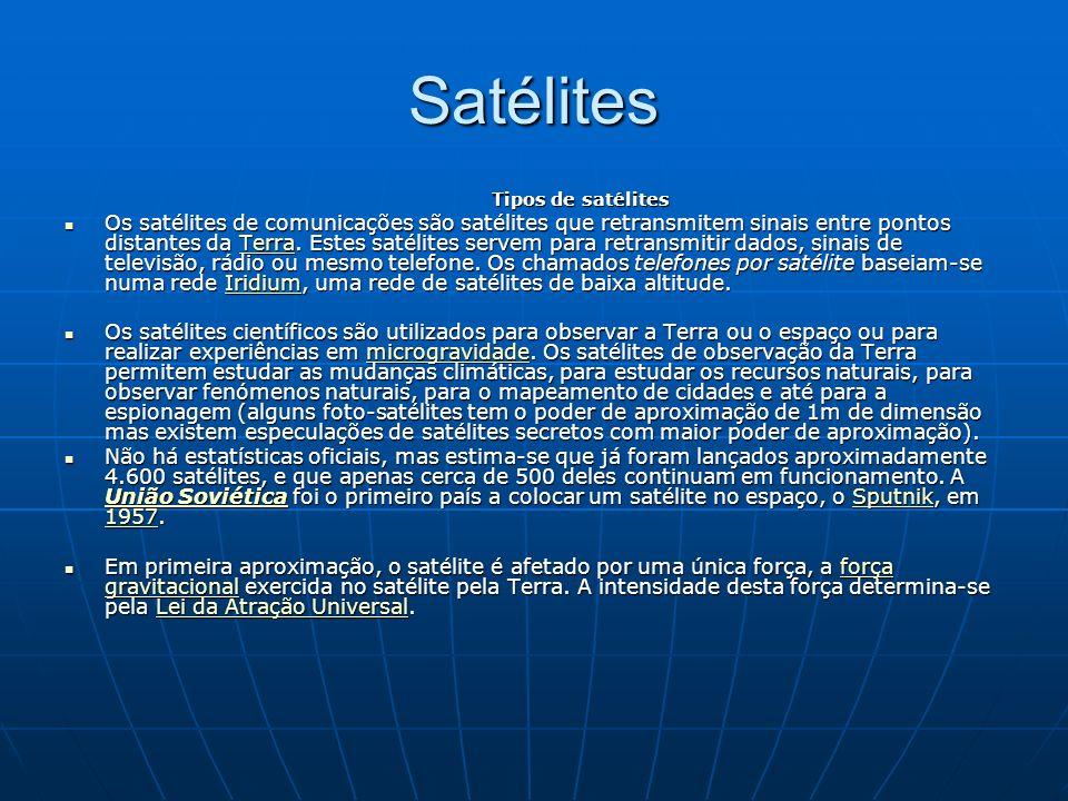 Satélites Tipos de satélites Os satélites de comunicações são satélites que retransmitem sinais entre pontos distantes da Terra.