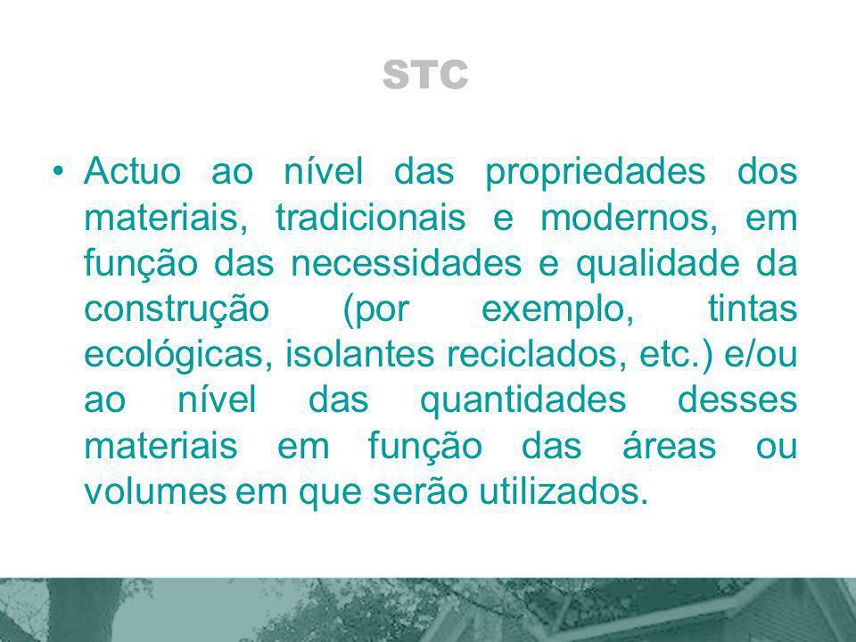 STC Actuo ao nível das propriedades dos materiais, tradicionais e modernos, em função das necessidades e qualidade da construção (por exemplo, tintas ecológicas, isolantes reciclados, etc.) e/ou ao nível das quantidades desses materiais em função das áreas ou volumes em que serão utilizados.