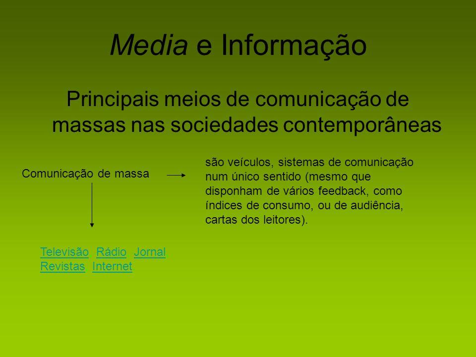 Media e Informação Principais meios de comunicação de massas nas sociedades contemporâneas Comunicação de massa são veículos, sistemas de comunicação