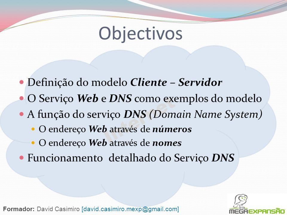 Internet Objectivos Definição do modelo Cliente – Servidor O Serviço Web e DNS como exemplos do modelo A função do serviço DNS (Domain Name System) O endereço Web através de números O endereço Web através de nomes Funcionamento detalhado do Serviço DNS Formador: David Casimiro [david.casimiro.mexp@gmail.com]