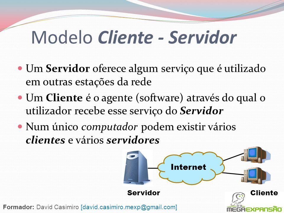 Internet Objectivos Definição do modelo Cliente – Servidor O Serviço Web e DNS como exemplos do modelo A função do serviço DNS (Domain Name System) O