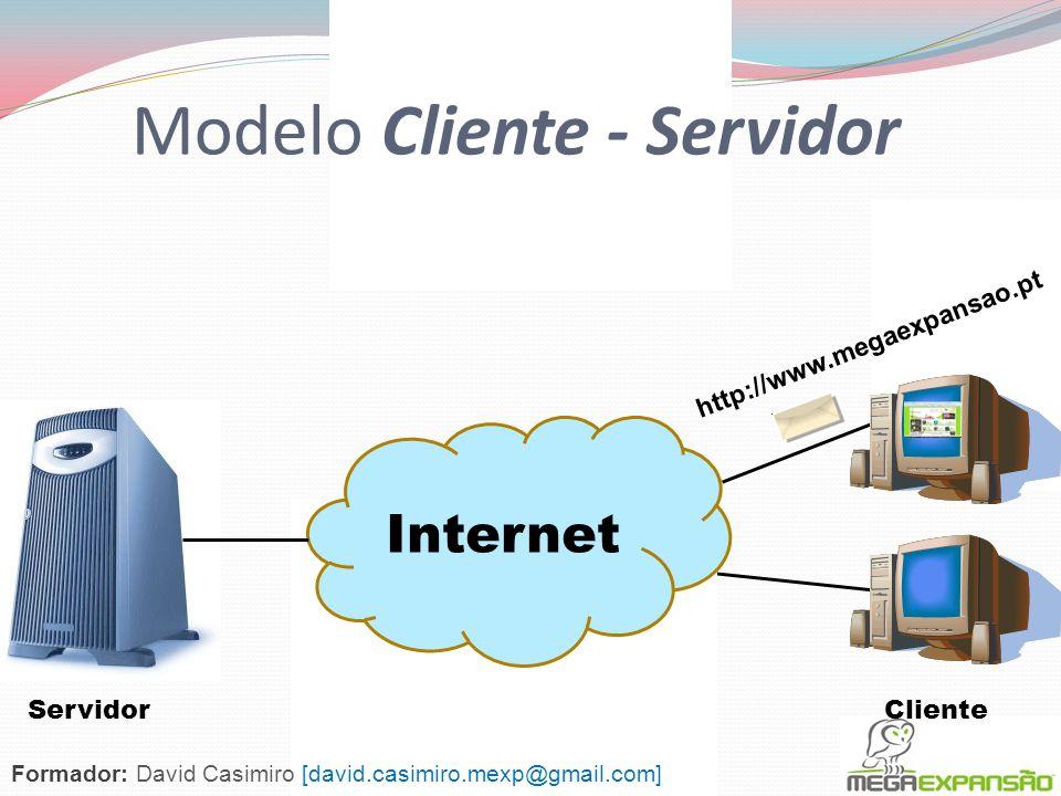 Modelo Cliente - Servidor Um Servidor oferece algum serviço que é utilizado em outras estações da rede Um Cliente é o agente (software) através do qua