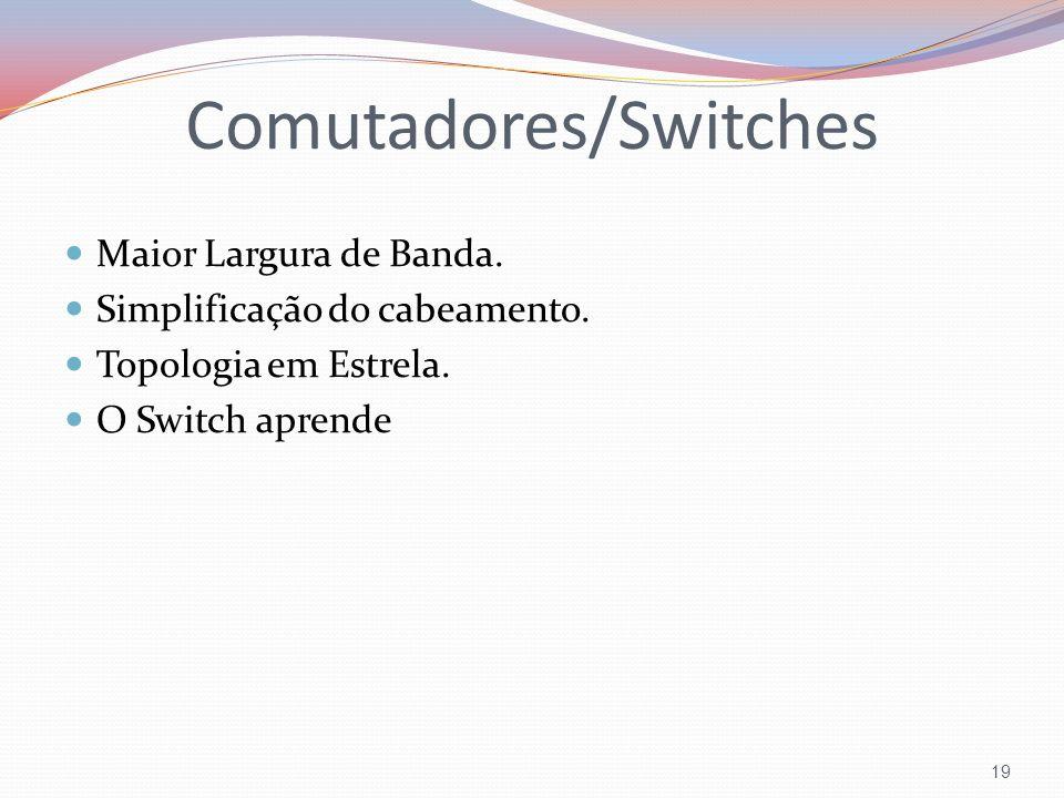 Comutadores/Switches Maior Largura de Banda. Simplificação do cabeamento. Topologia em Estrela. O Switch aprende 19