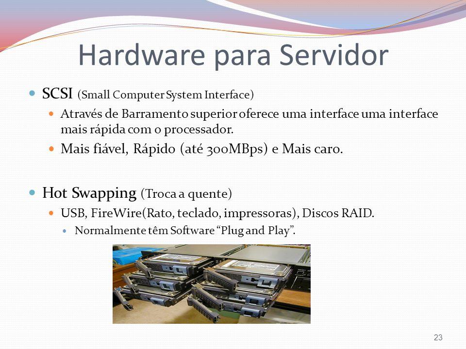 SCSI (Small Computer System Interface) Através de Barramento superior oferece uma interface uma interface mais rápida com o processador. Mais fiável,