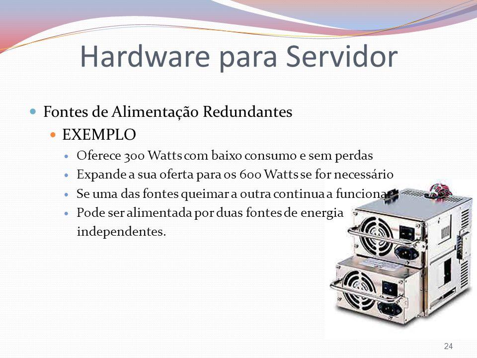 Fontes de Alimentação Redundantes EXEMPLO Oferece 300 Watts com baixo consumo e sem perdas Expande a sua oferta para os 600 Watts se for necessário Se