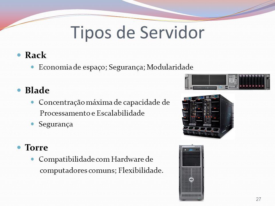 Tipos de Servidor 27 Rack Economia de espaço; Segurança; Modularidade Blade Concentração máxima de capacidade de Processamento e Escalabilidade Segura