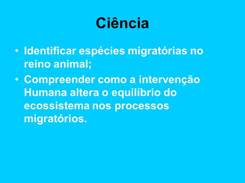 Ciência Identificar espécies migratórias no reino animal; Compreender como a intervenção Humana altera o equilíbrio do ecossistema nos processos migratórios.