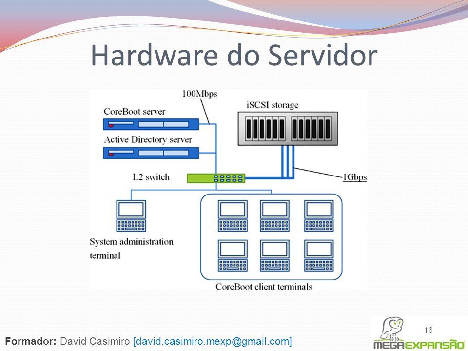 16 Formador: David Casimiro [david.casimiro.mexp@gmail.com] Hardware do Servidor