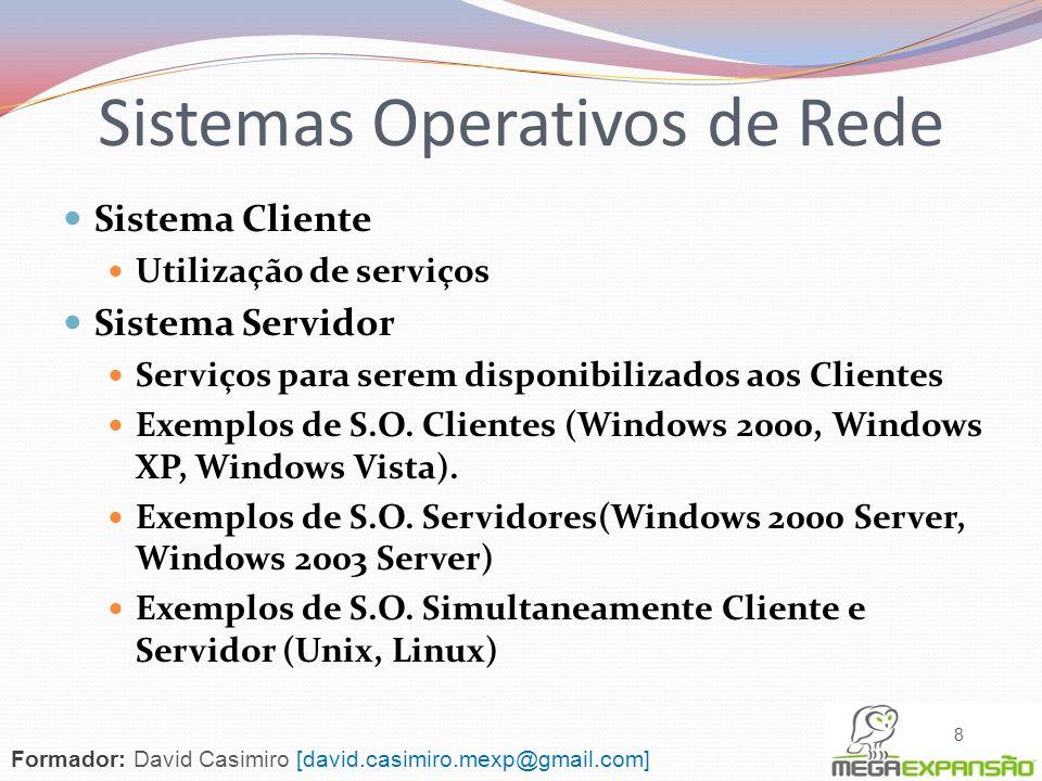 Sistema Cliente Utilização de serviços Sistema Servidor Serviços para serem disponibilizados aos Clientes Exemplos de S.O. Clientes (Windows 2000, Win
