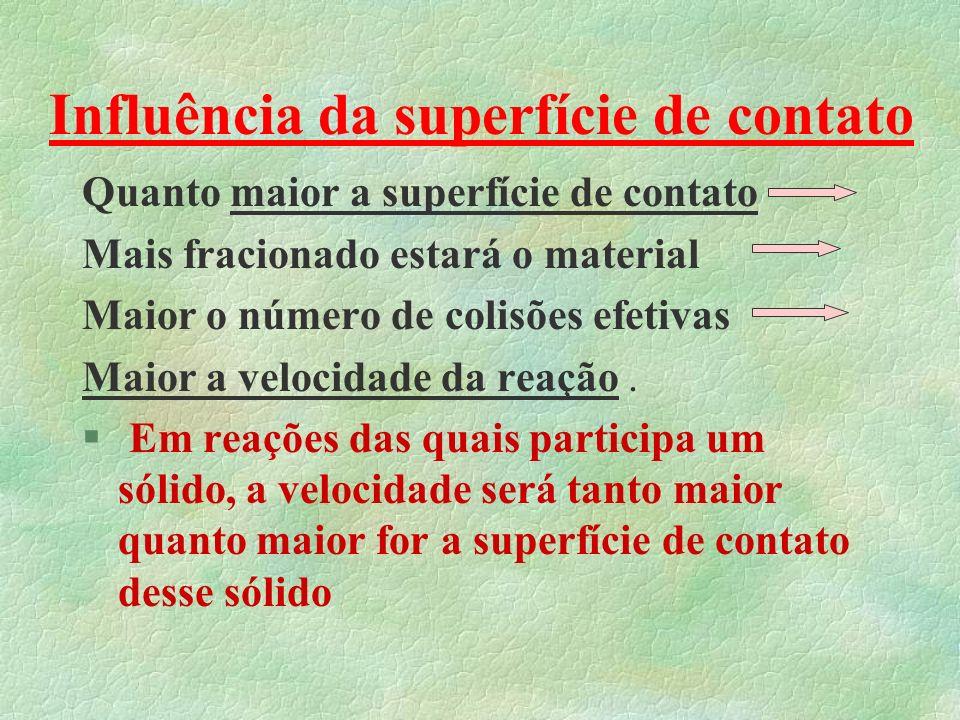Alguns Exemplos H 2(g) + Cl 2(g) 2HCl (g) V = K.[H 2 ].[Cl 2 ] _____________________________________ H 2(g) + 3N 2(g) 2 NH 3(g) V = K.[H 2 ] 1.[N 2 ] 3