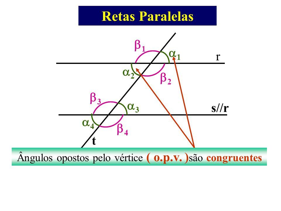 Retas Paralelas r s//rt 1 2 3 4 1 2 3 4 Ângulos opostos pelo vértice ( o.p.v. ) são congruentes