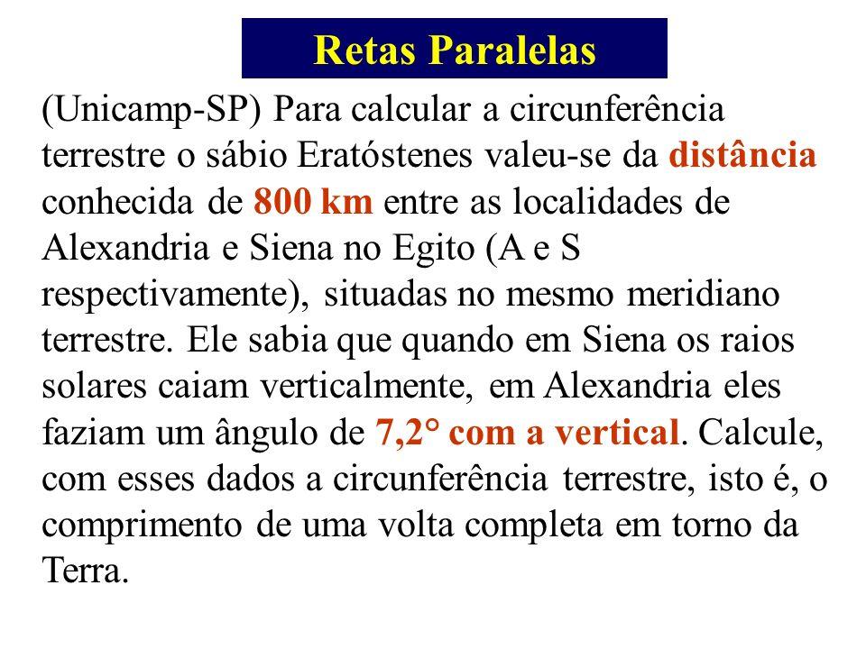 Retas Paralelas (Unicamp-SP) Para calcular a circunferência terrestre o sábio Eratóstenes valeu-se da distância conhecida de 800 km entre as localidad