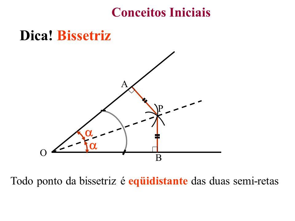Conceitos Iniciais Dica! Bissetriz P O Todo ponto da bissetriz é eqüidistante das duas semi-retas A B