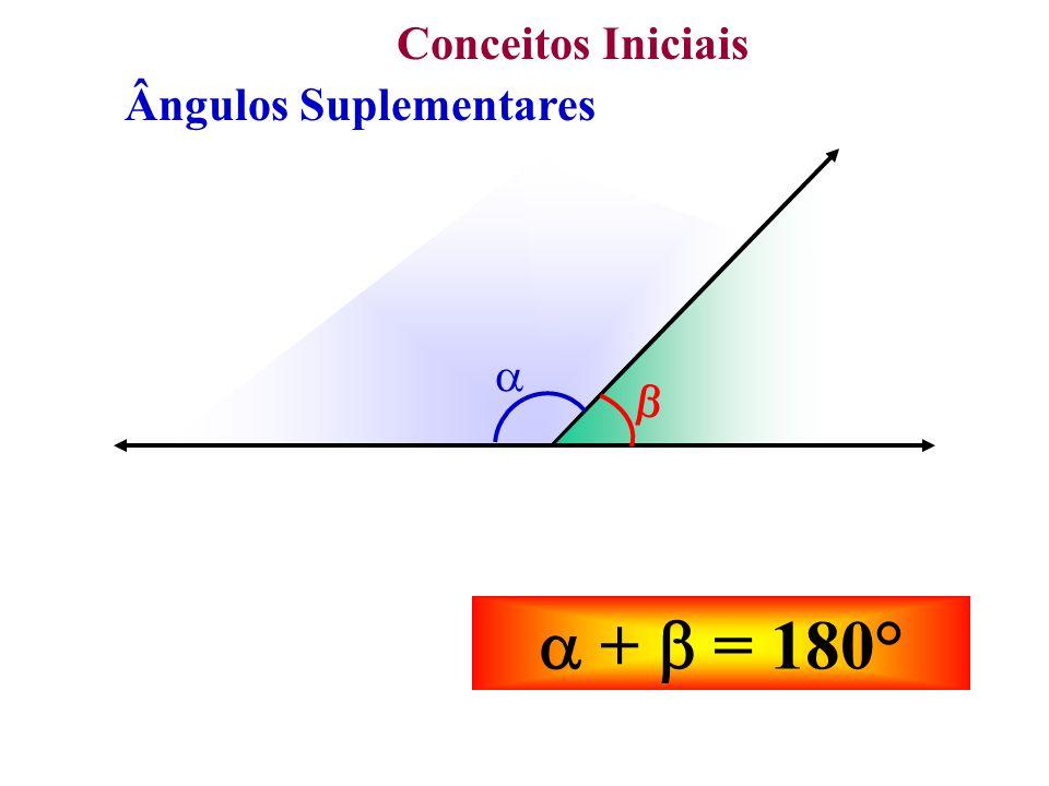 Conceitos Iniciais Ângulos Suplementares + = 180° /2 + = 180° /2 + /2 = 90° As bissetrizes de dois ângulos adjacentes e suplementares são perpendiculares