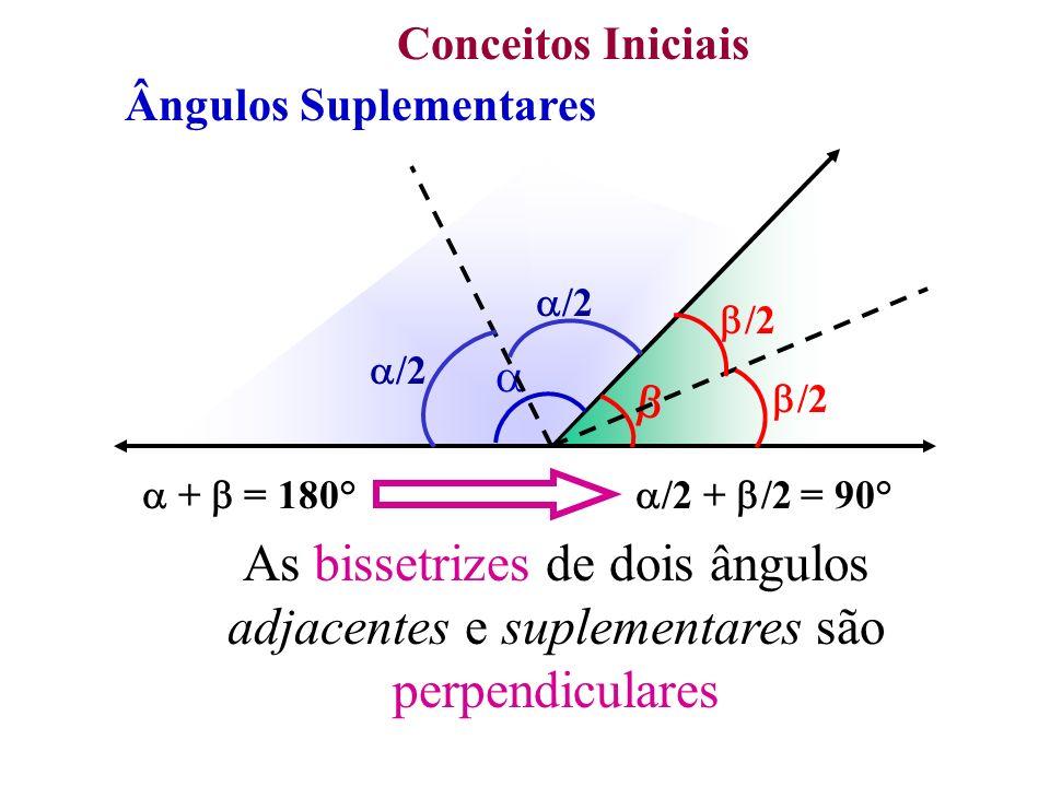 Conceitos Iniciais Ângulos Suplementares + = 180° /2 + = 180° /2 + /2 = 90° As bissetrizes de dois ângulos adjacentes e suplementares são perpendicula