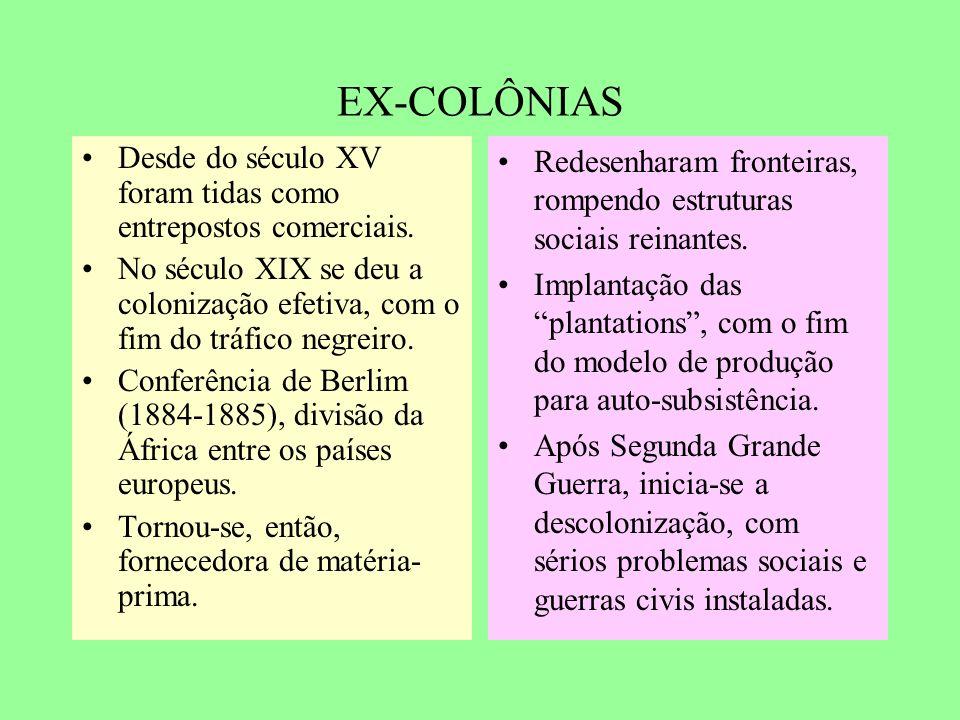 EX-COLÔNIAS Desde do século XV foram tidas como entrepostos comerciais.