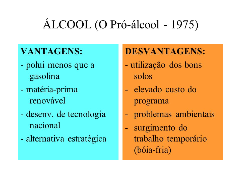 ÁLCOOL (O Pró-álcool - 1975) VANTAGENS: - polui menos que a gasolina - matéria-prima renovável - desenv. de tecnologia nacional - alternativa estratég