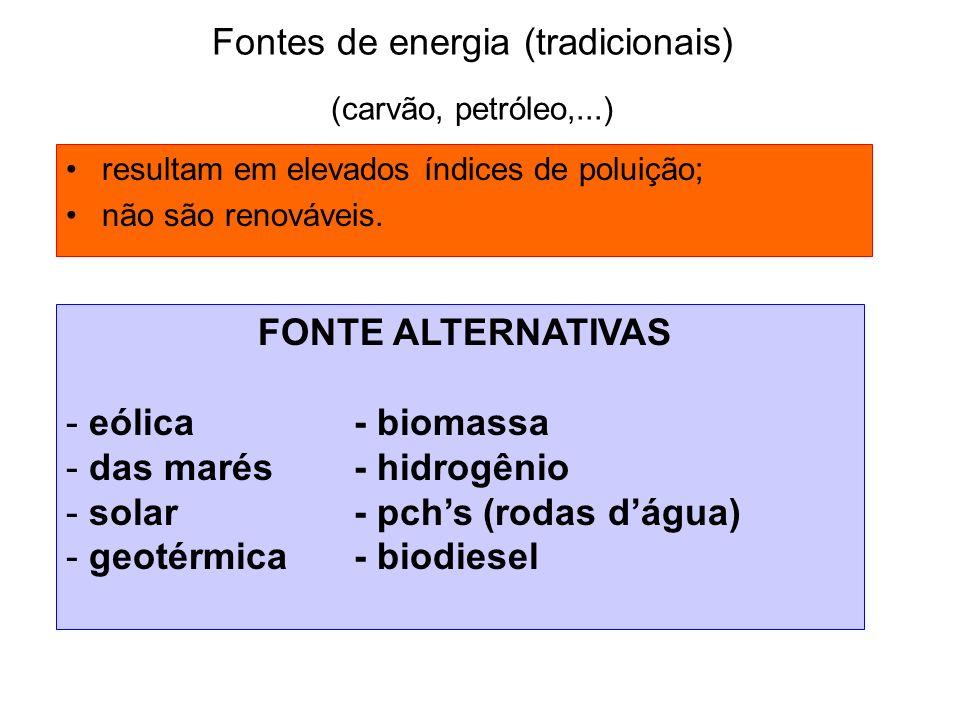 Fontes de energia (tradicionais) (carvão, petróleo,...) resultam em elevados índices de poluição; não são renováveis. FONTE ALTERNATIVAS - eólica- bio