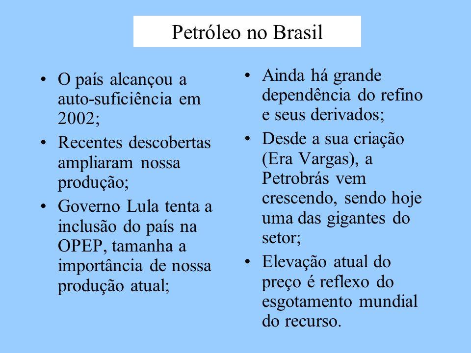 Petróleo no Brasil O país alcançou a auto-suficiência em 2002; Recentes descobertas ampliaram nossa produção; Governo Lula tenta a inclusão do país na