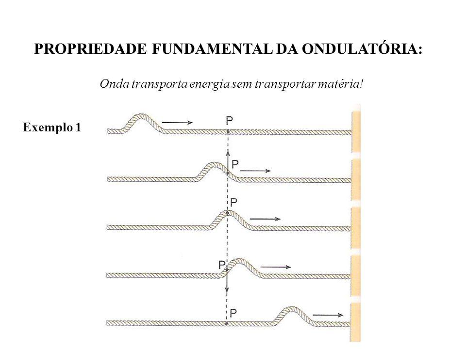 PROPRIEDADE FUNDAMENTAL DA ONDULATÓRIA: Onda transporta energia sem transportar matéria! Exemplo 1