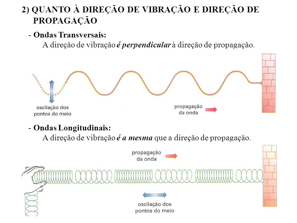 2) QUANTO À DIREÇÃO DE VIBRAÇÃO E DIREÇÃO DE PROPAGAÇÃO - Ondas Transversais: A direção de vibração é perpendicular à direção de propagação. - Ondas L