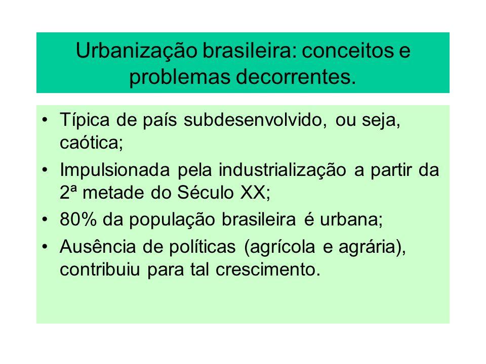 Urbanização brasileira: conceitos e problemas decorrentes. Típica de país subdesenvolvido, ou seja, caótica; Impulsionada pela industrialização a part